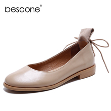 цена на BESCONE New Fashion Women Flats Concise Round Toe Cross-Tied Decoration High Quality Cow Leather Shoes Western Style Flats BO551