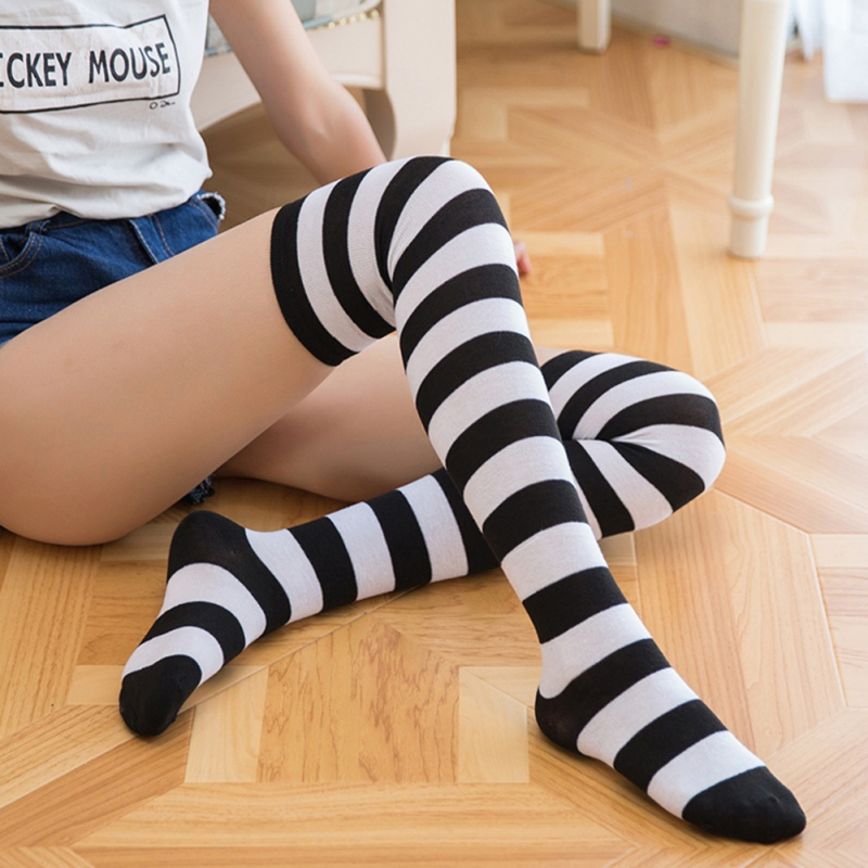 Japanese Color Striped Uniform Casual Thigh Cotton Long Socks Autumn Winter Fashion Ladies Stockings Over The Knee Socks Soft
