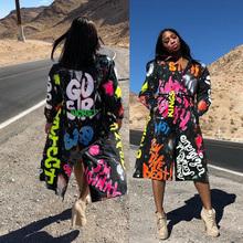 Fashion Letter Print Women Coat Long Sleeve Winter Spring Trench With Sashes Pockets Winter Spring Light Long Black Coat 2021