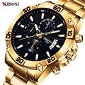 Neue Design NIBOSI Business Männer Uhren Top-marke Luxus Goldene Edelstahl Armbanduhren Wasserdicht Leucht Hände Auto Datum
