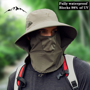 Big brim Fishing hat Full waterproof Cut off 98% UV Breathable Cool sun protection Sunscreen Masked Fisherman Outdoors Camping - discount item  28% OFF Fishing