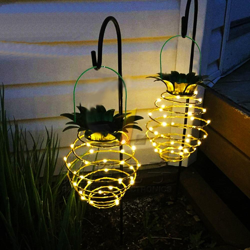 24LED Solar Light Waterproof Pineapple Shape Outdoor Hanging Night Light Garden Corridor Door Wall Iron Wire Art Home Decoration