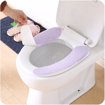 1 Pair Warmer Toilet Seat Mat Washable Cushion Sticker Crop Washable Tiolet Seat Cover For Winter Fall Bathroom Closestool