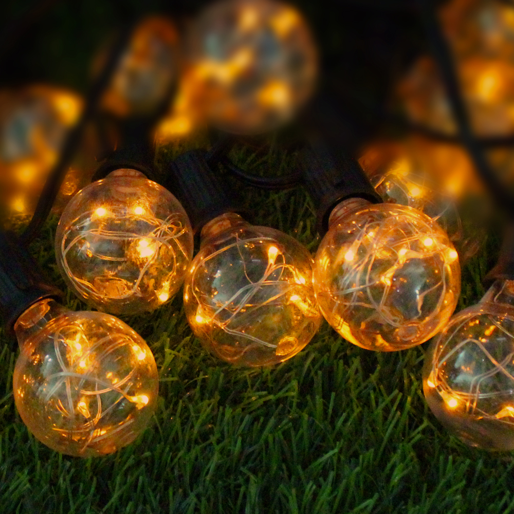 G40 Party Christmas String Light 25 Clear Vintage Bulbs Decorative Outdoor Backyard Solar Powered Patio Lights