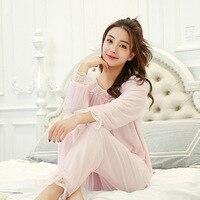 GOGONI Women's Lolita Pajama Sets.Lace Tops+Long Pants.Vintage Ladies Girl's Mesh Pyjamas Set.Victorian Sleepwear Loungewear