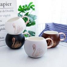 Golden Swans Beautiful Ceramic Mug Tea Milk Coffee Cup Home Office Decor Drinkware Waterware Gift