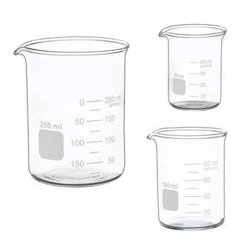 Hot sale Glass Measuring Low Form Beaker Set 50ml 100ml 250ml Graduated