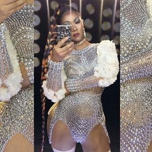Luxury Pearls Rhinestones Flower Sleeve Bodysuit Women Sexy Singer Performance Stage Jazz Dance Costume Birthday Party Club Wear