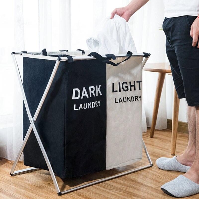 Складная корзина для грязного белья, органайзер для одежды X-образной формы, складная домашняя корзина с тремя сетками для сортировки