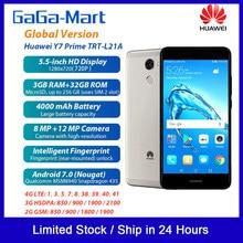 Versão global huawei y7 prime 4g smartphone android 7.0 32gb 3gb 5.5 polegadas 8mp 12mp 4000 mah sensor de impressão digital plugue da ue telefone