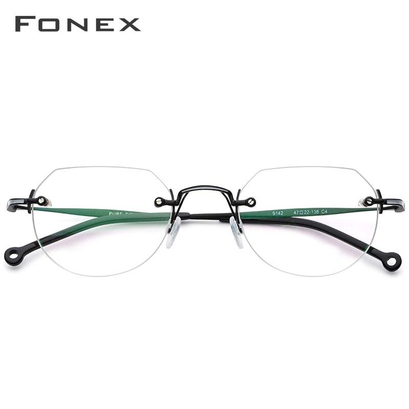Image 2 - FONEX Pure Titanium Rimless Glasses Men Vintage Polygon Prescription Eyeglasses Frame Women Myopia Optical Frames Eyewear 9142-in Women's Eyewear Frames from Apparel Accessories