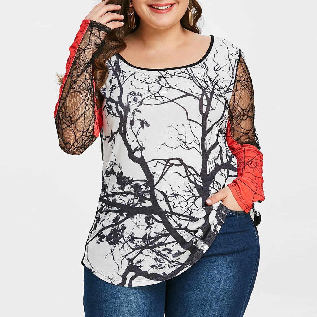 ใหม่ผู้หญิงเสื้อยืดพลัสขนาดลูกไม้ตาข่าย Patchwork ฮาโลวีนพิมพ์ harajuku O-Neck เสื้อยืดแขนยาวเซ็กซี่เสื้อ F816