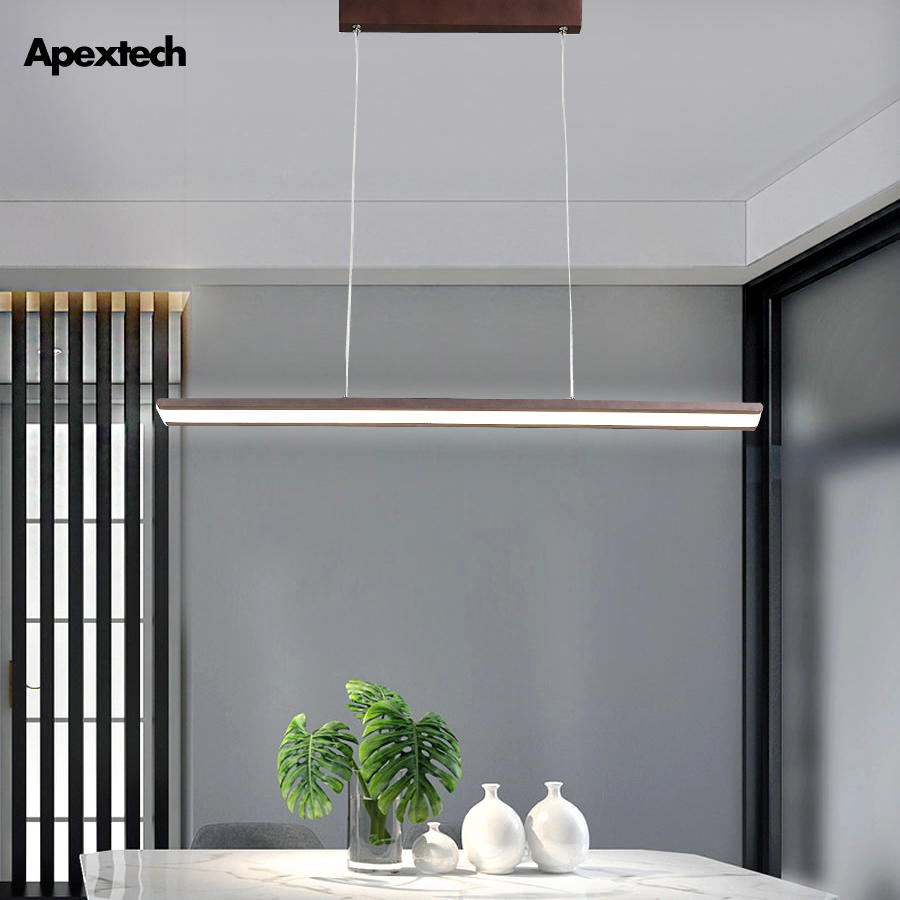 Modern Simple LED Pendant Lights Linear Bar Strip Droplight Dining Room Ceiling Hanging Lamp Office Lighting Fixtures