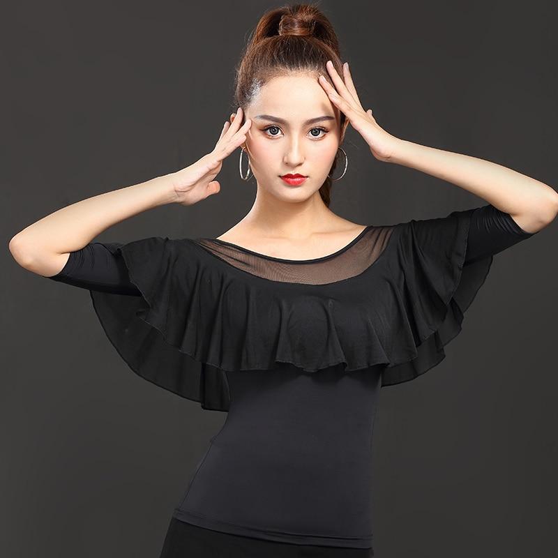 Women'S Latin Dance Tops Modal Long Sleeves Ice Silk Practice Clothes Female Ballroom Waltz Salsa Perform Dancing Shirt DL4429