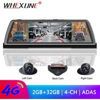 WHEXUNE 4G Android Car DVR Dash cam 4 Lens 10 inch Navigation ADAS GPS WiFi Full HD 1080P Video Recorder 2GB+32GB Vehicle Camera