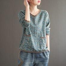 Camiseta con estampado Floral para mujer, algodón y lino holgada de ropa Retro, con cuello en V y bolsillo, Chicas Mori Vintage, primavera y otoño 2020