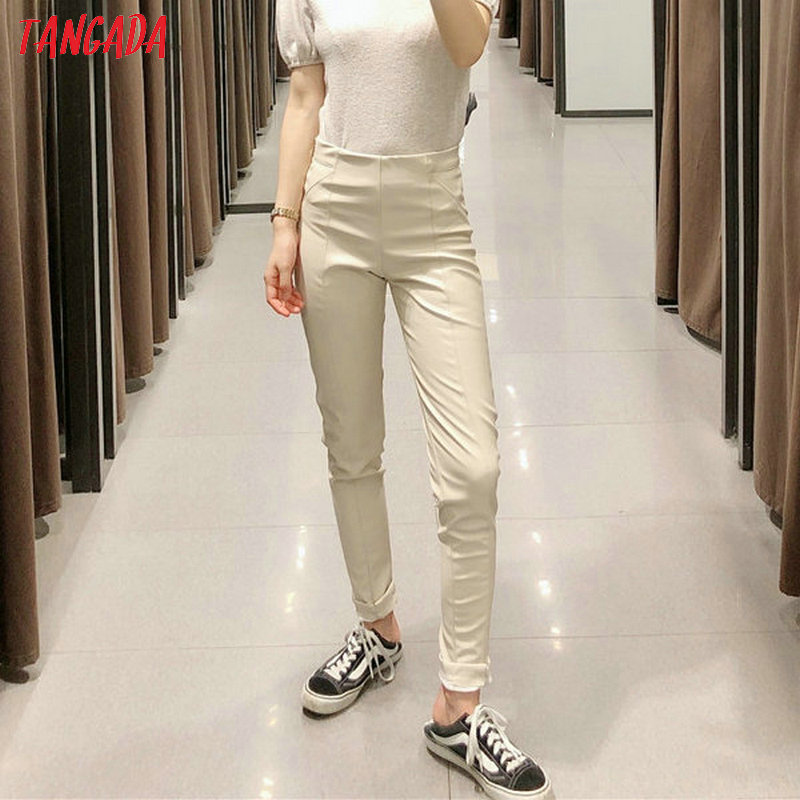 Tangada women white skinny PU leather pants stretch zipper female autumn winter pencil pants trousers 6A04 27
