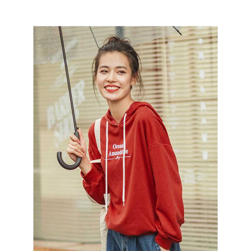 Xã Inman 2019 Mùa Thu Hàng Mới Về Thời Trang Tiếng Anh Thêu Chữ Thả-Vai Tay Personaility Nữ Khoác Hoodie