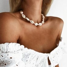 Nova moda branco preto corda corrente concha gargantilha colar concha gargantilhas colares para praia de verão jóias 2020