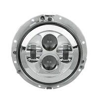 80W 7Inch LED Headlight Chrome W/ Mounting Housing for Harley Davidson| |   -