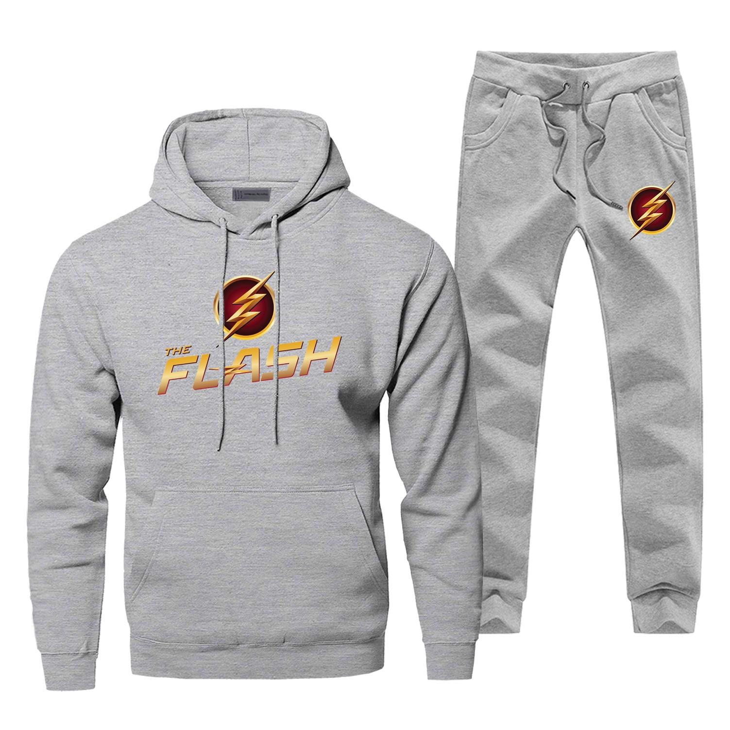 TV Show The Flash Logo Hoodies Gray Black Pants Sweatshirt Cosplay Men's Sets 2019 New Arrival Winter Warm Fleece Sportsman Wear
