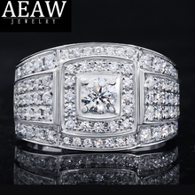 Luxury 0.5Carat 5.0mm Excellent Round Cut Moissanite Men Ring Engagement Ring Real 18K White Gold transgems 14k white gold 1 4ctw 0 7ct 5mm f color princess cut moissanite engagement ring with 2 5mm princess cut side stone