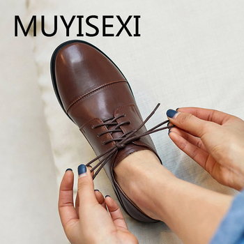 Vintage british school soft cow leather 2.5cm low heel lace up round toe streetwear young lady cozy casual pumps ANJ22 MUYISEXI