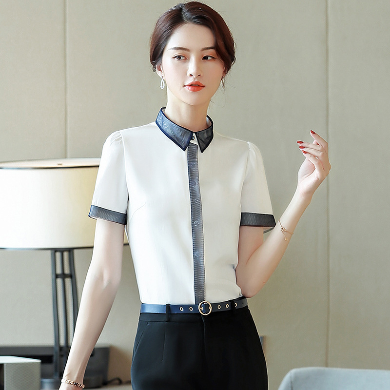 2019 Spring And Summer New Style Wear WOMEN'S Short Sleeved Shirt Ol Commuting Business Formal Wear White Collar Front Desk Rece