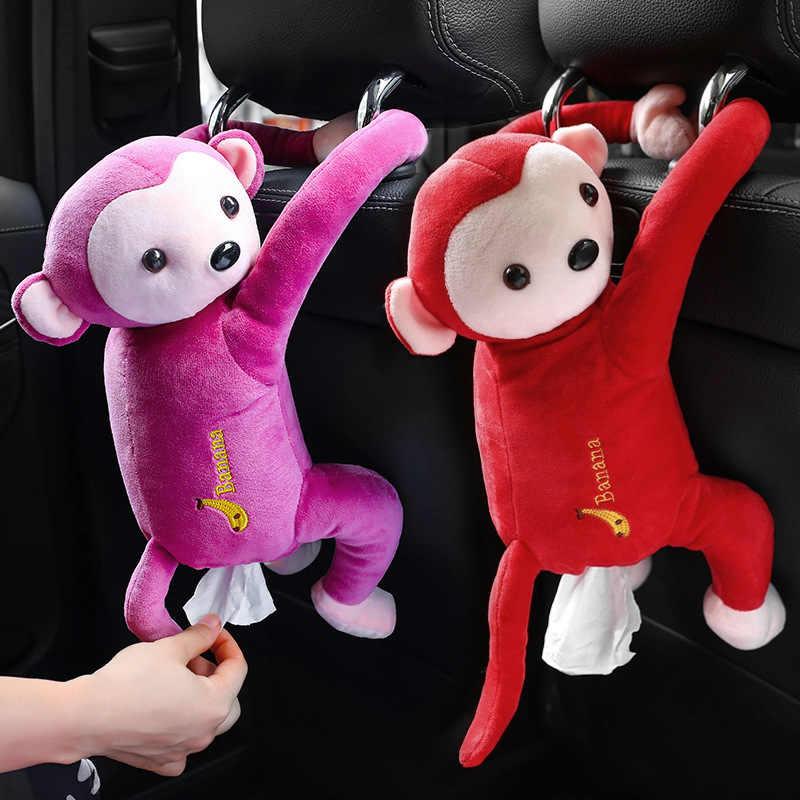 Коробка для салфеток с милыми животными в виде обезьяны, плюшевая ткань, 3D дизайн с животными, для домашнего хранения, коробки для салфеток, для автомобиля, дома, гостиной
