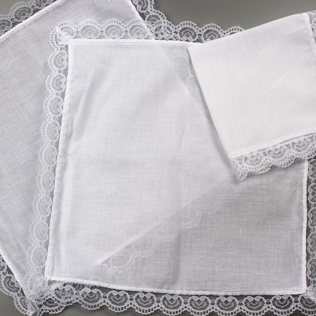 10x DIY Ladies White Hankies Party Wedding Handkerchiefs 100% Cotton Hanky
