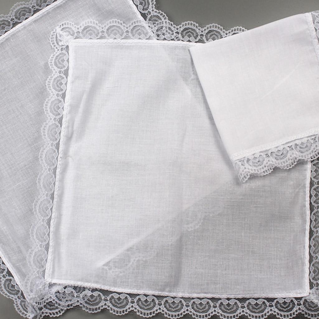 10x DIY Ladies White Hankies Party Wedding Handkerchiefs 100% Cotton Hanky