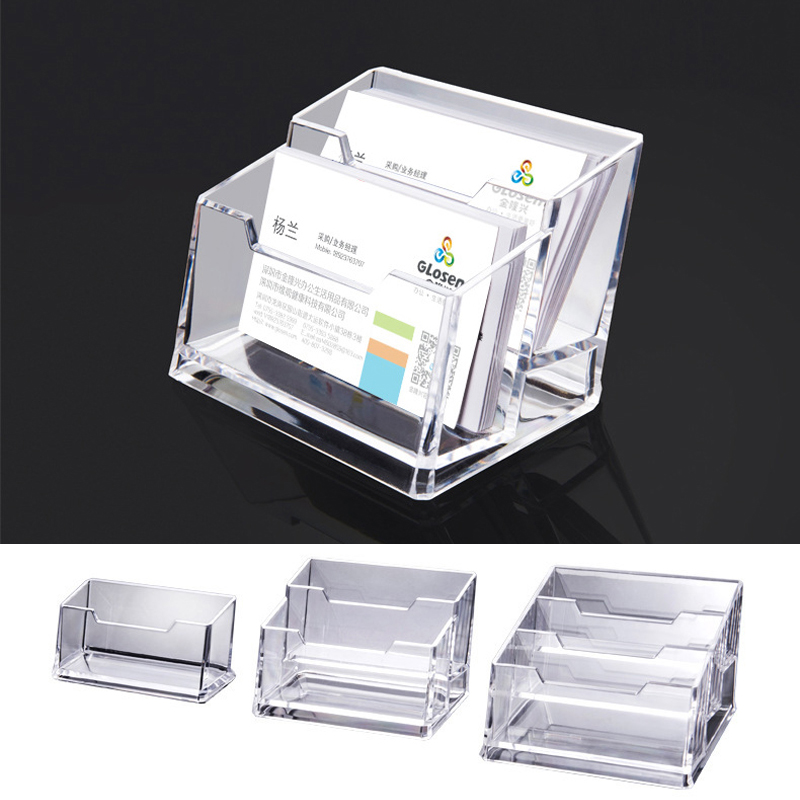 Acrylic Desktop Business Card Holder Display Business Card Case Holder Plastic Business Card Stand for Office Grey//Clear