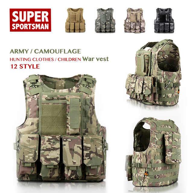 Gilet tactique militaire Pour jeux de guerre Rosepoem Gilet de chasse multifonction pour enfant /Équipement de chasse en ext/érieur Camouflage
