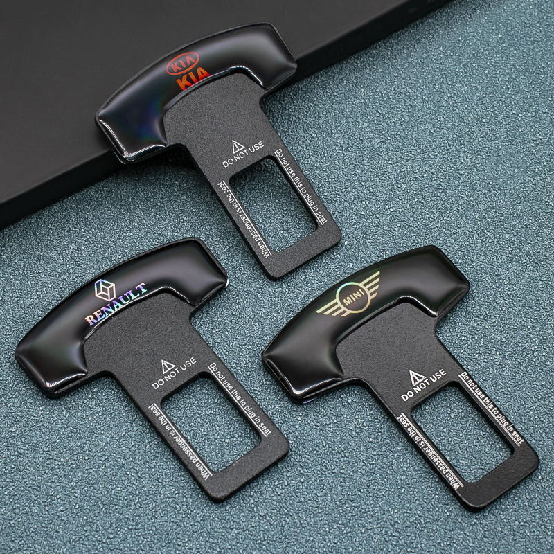 1/2pcs אבץ סגסוגת רכב חגורת בטיחות קליפ חגורת בטיחות תקע עבור Peugeot KIA BMW מיני יונדאי פורד שברולט פולקסווגן טויוטה הונדה