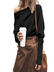 Knitted Sweater Jumpers Long-Sleeve Streetwear Off-Shoulder Solid Pullover Female