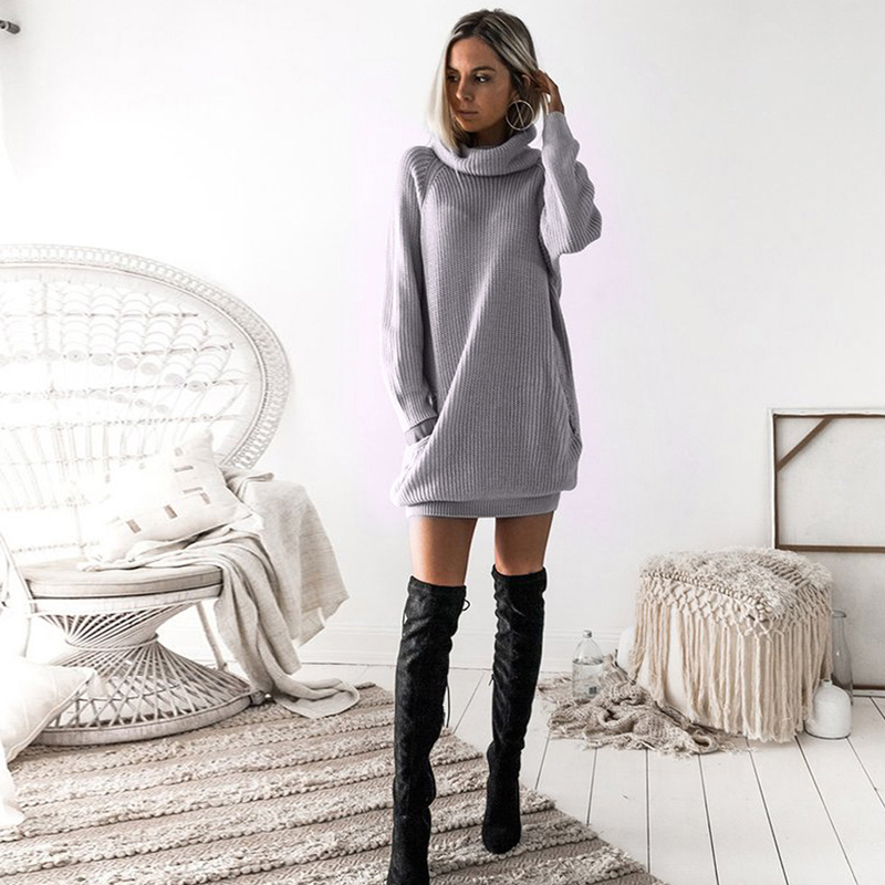 Winter women's sweater high collar solid color long-sleeved ladies clothes large size self-cultivation bag hip warm female top 8