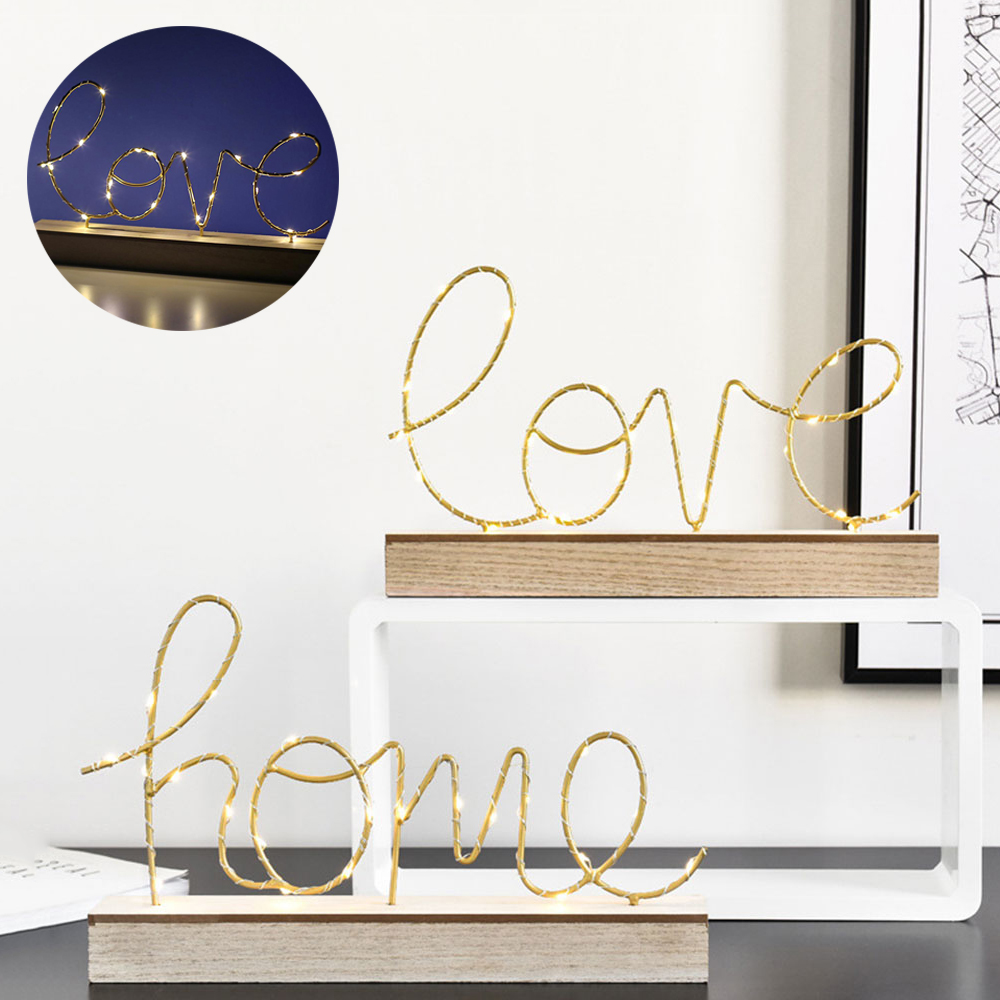 Nordic Wooden Base Night Light Chic Iron Love Home Letter LED Night Light Lamp Simple Cozy Home Desk Adornment Warm Decor Lights