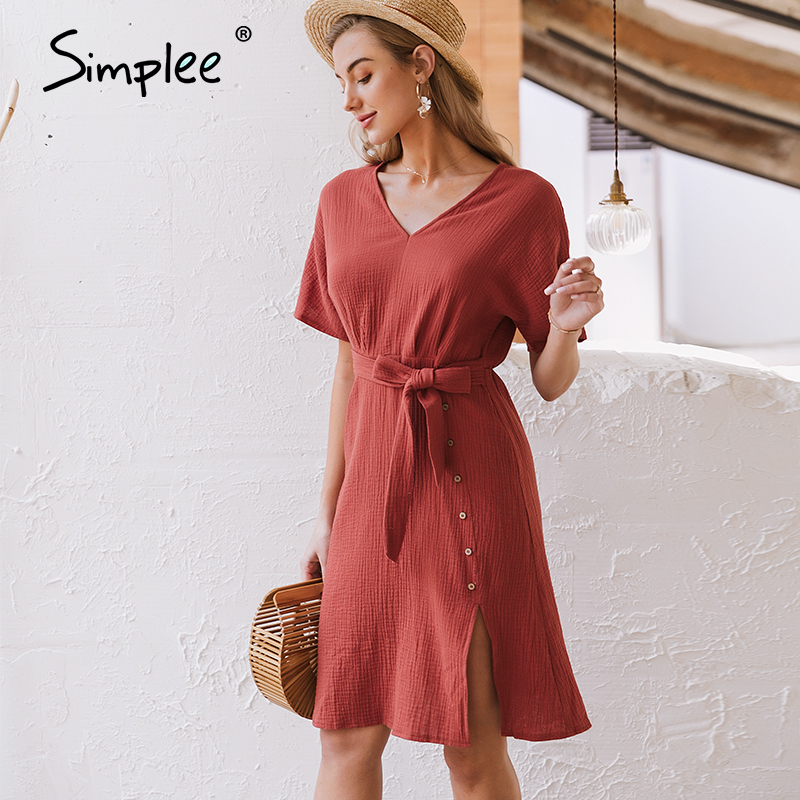 Simplee Elegant V Neck Women Dress Streetwear Strap Buttons Cotton Summer Dress Work Wear Solid Batwing Sleeve Office Dress 2020