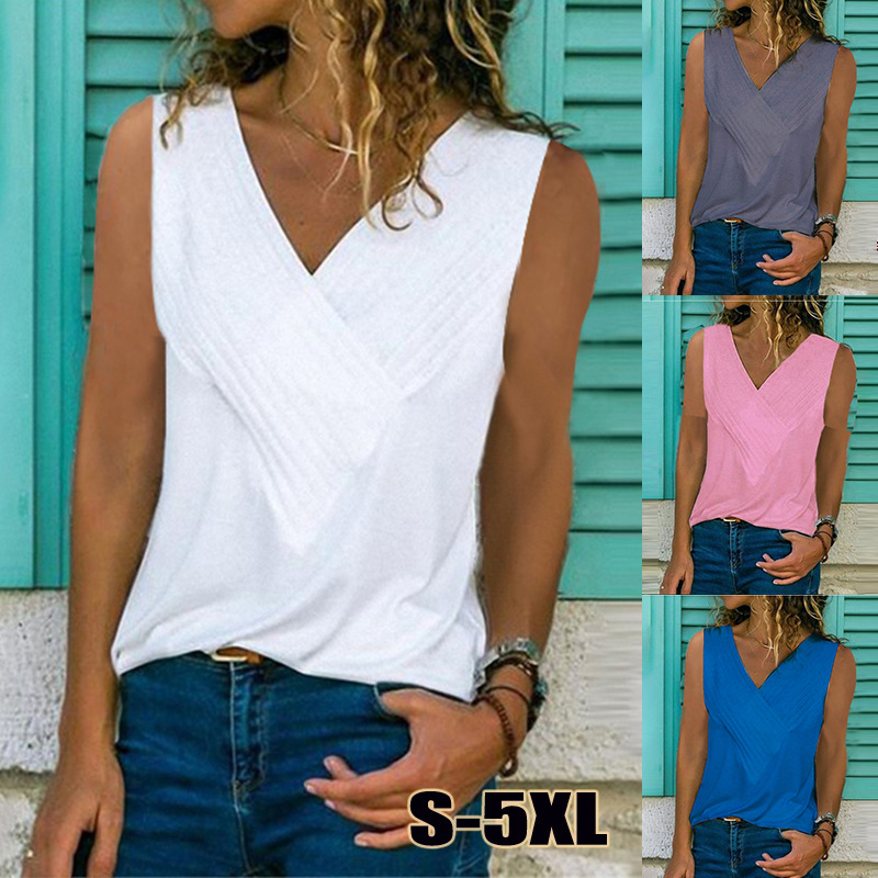 5XL Summer Sexy Tanks Shirts Women Sleeveless V-Neck Solid Blouses Casual Streetwear White Lodies Tops Plus Size