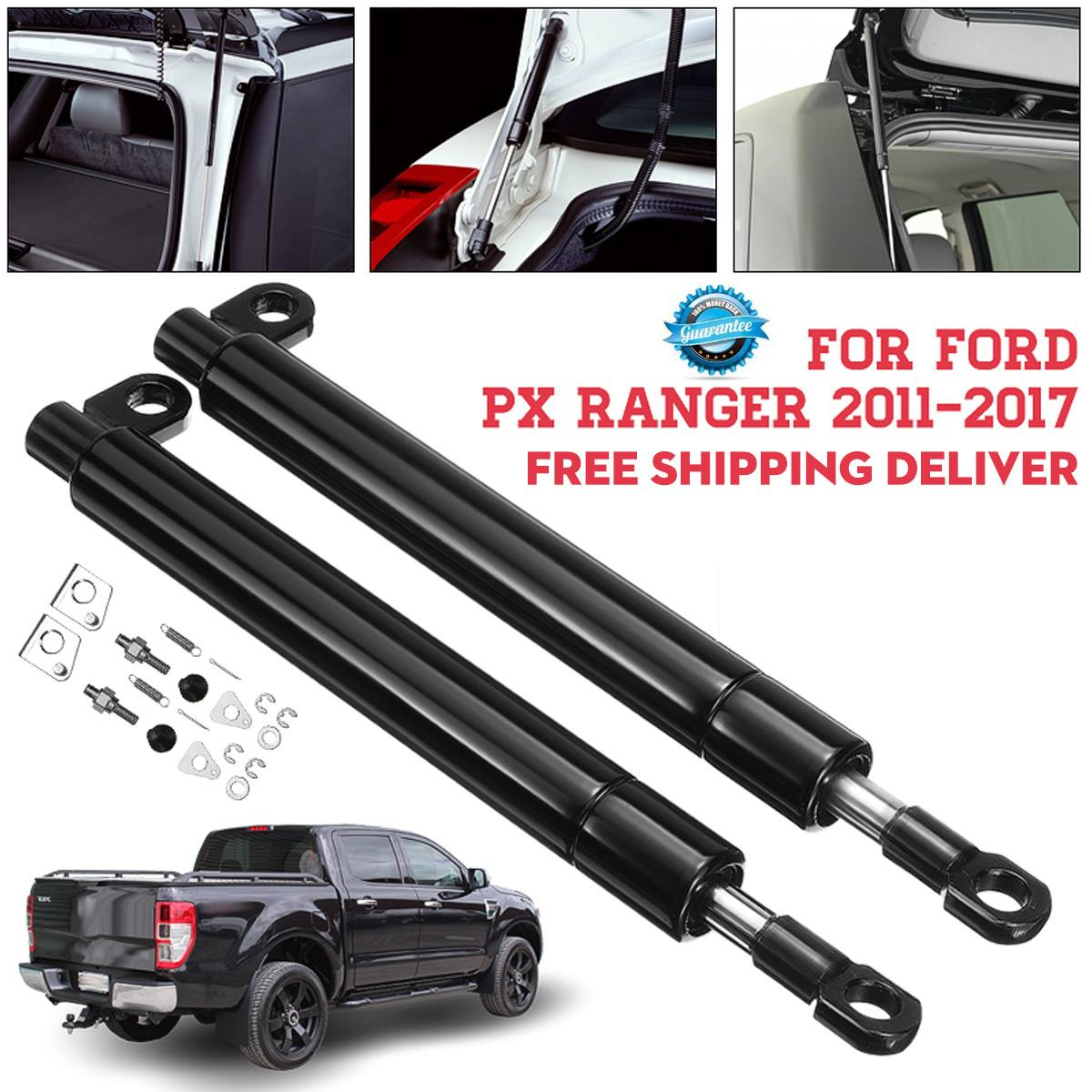 1 Pair Rear Tailgate Slow Down & Easy Up Strut Kit For Ford PX Ranger 2011-2017 Easy Install No Drilling Required Anti-breaking