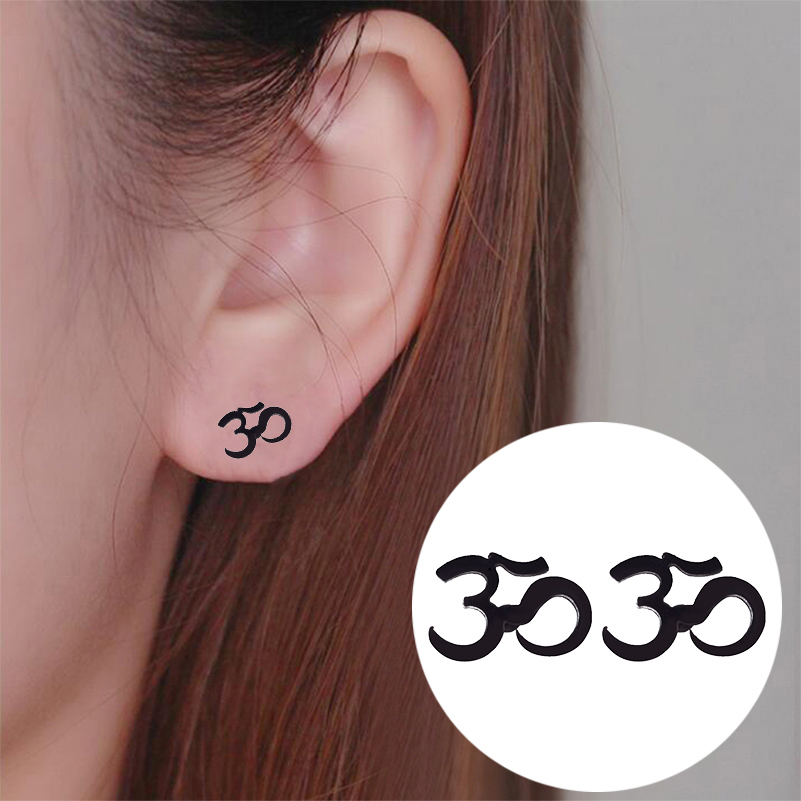 SMJEL Personalize OM Symbol Earrings Women Stainless Steel Black Earrings Motorcycle Meditation Yoga Minimalist Jewelry