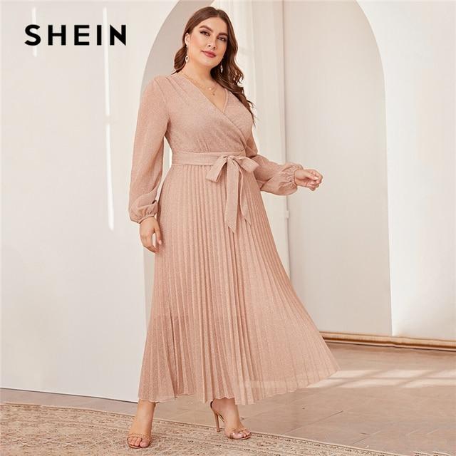 SHEIN Plus Size Surplice Neck Lantern Sleeve Pleated Glitter Maxi Dress Women Autumn High Waist Wrap Glamorous Party Dresses