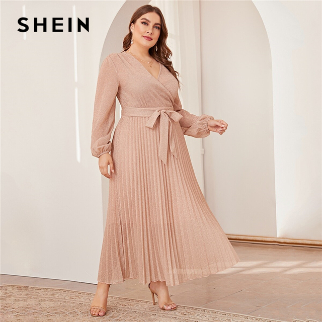 SHEIN プラスサイズ冥衣ネックランタンスリーブプリーツグリマキシドレスの女性の秋ハイウエストラップグラマラスパーティードレス