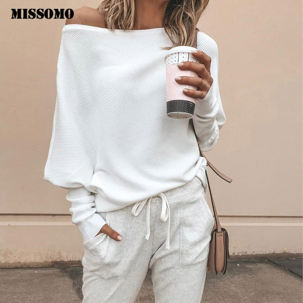 MISSOMO Loose Sweater Knitwear Batwing-Sleeve Women Tops Sexy Off-Shoulder Casual Jumper title=