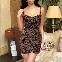 2019 New Summer Dress Women Leopard-print Strapless Collar Splicing Backless Street