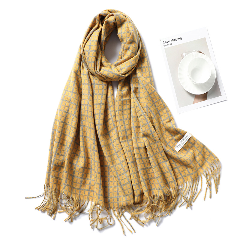 Furry Warm Scarf Women Winter New Fashion Plaid Cashmere Scarves High Quality Long Tassels Shawls and Wraps Lady Pashmina Cape in Women 39 s Scarves from Apparel Accessories