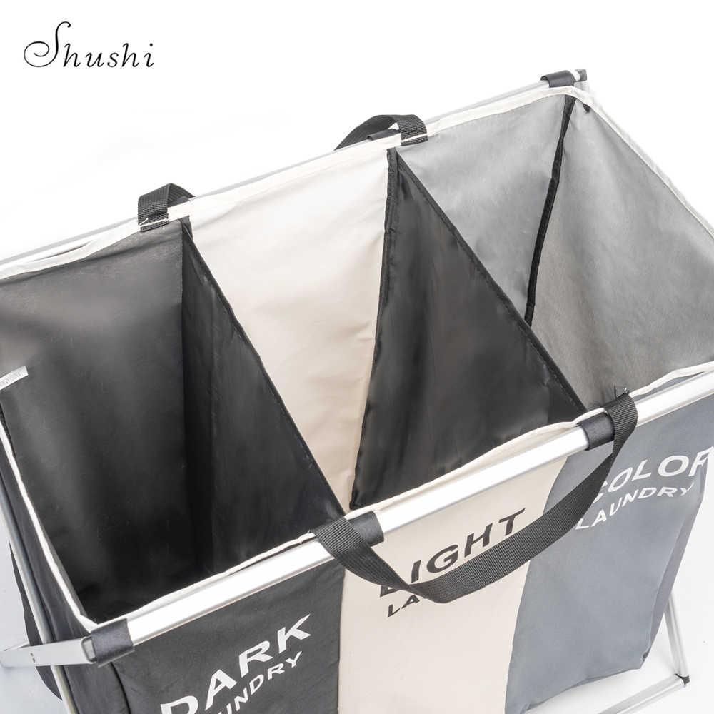 Shushi 折りたたみ汚れた服ランドリーバスケットオーガナイザー 3 グリッドホームプリントランドリー洗濯物用かご選別機防水ランドリー洗濯物用かご
