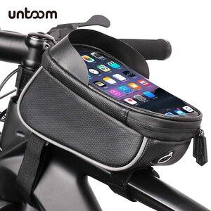 Image 1 - الدراجة دراجة للماء هاتف محمول حقيبة حامل MTB الجبهة إطار كيس أنبوب حالة 6.0 بوصة المعطف السرج حقيبة دراجة