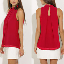 Женская шифоновая блузка без рукавов элегантная плиссированная