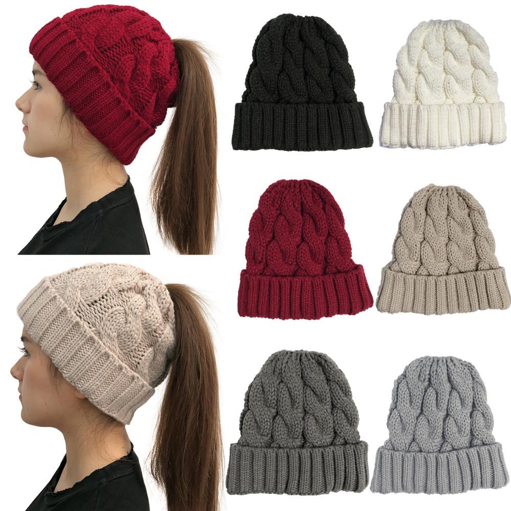 Мягкие вязаные зимние шапки бини с конским хвостом для женщин, Шерстяная кепка, стрейчевая вязаная крючком, грязная шляпа Bun Holey, Повседневны...